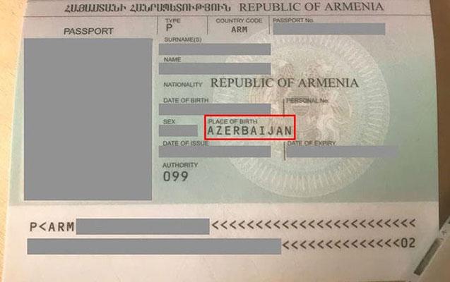 Qarabağ ermənisinin pasportunda doğum yeri Azərbaycan yazıldı